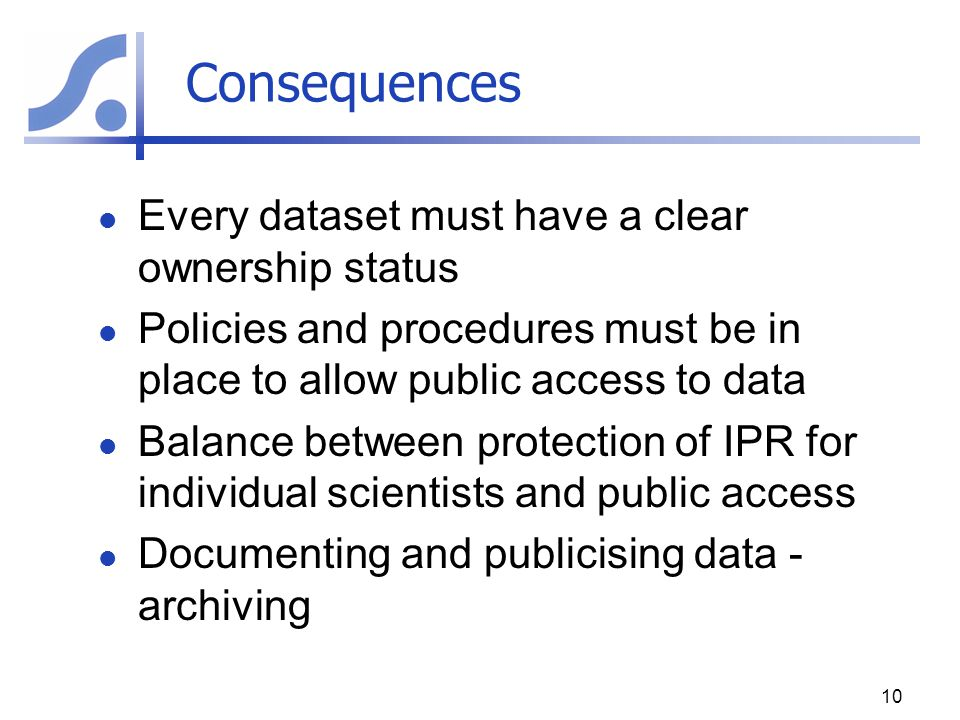Consequences Every dataset must have a clear ownership status