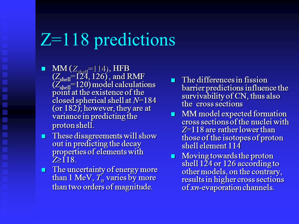 Z=118 predictions