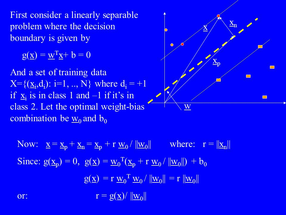 First consider a linearly separable problem where the decision boundary is given by