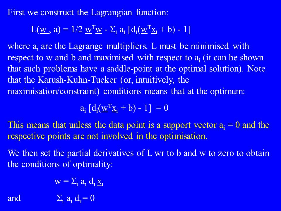 First we construct the Lagrangian function: