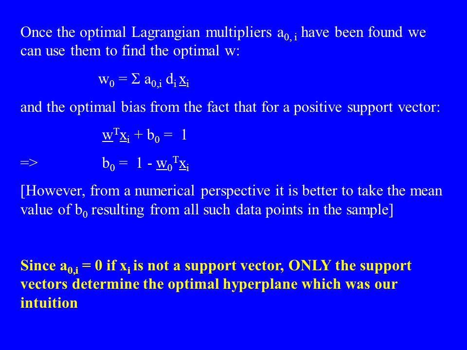 Once the optimal Lagrangian multipliers a0, i have been found we can use them to find the optimal w:
