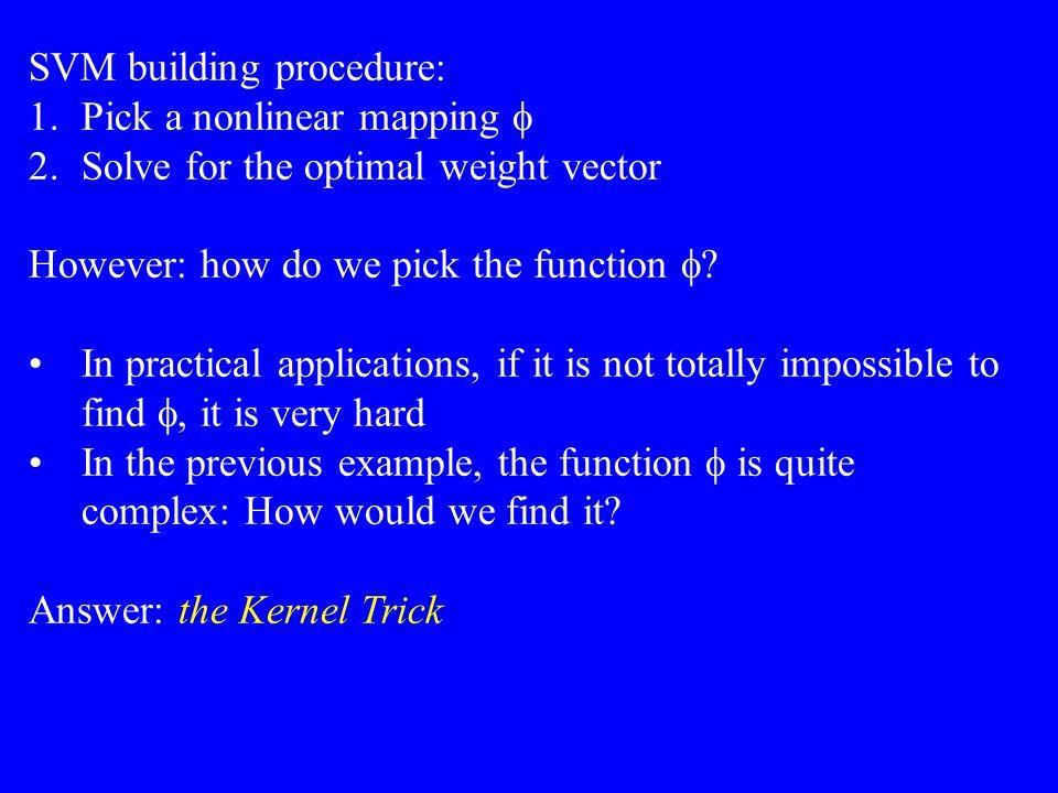 SVM building procedure: