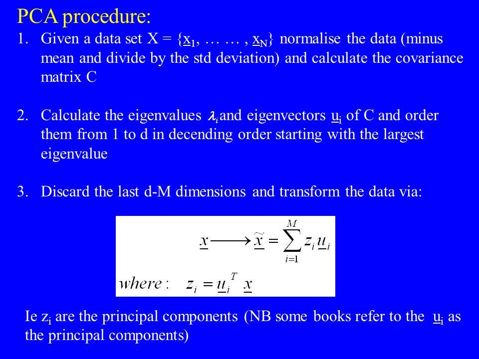 PCA procedure: