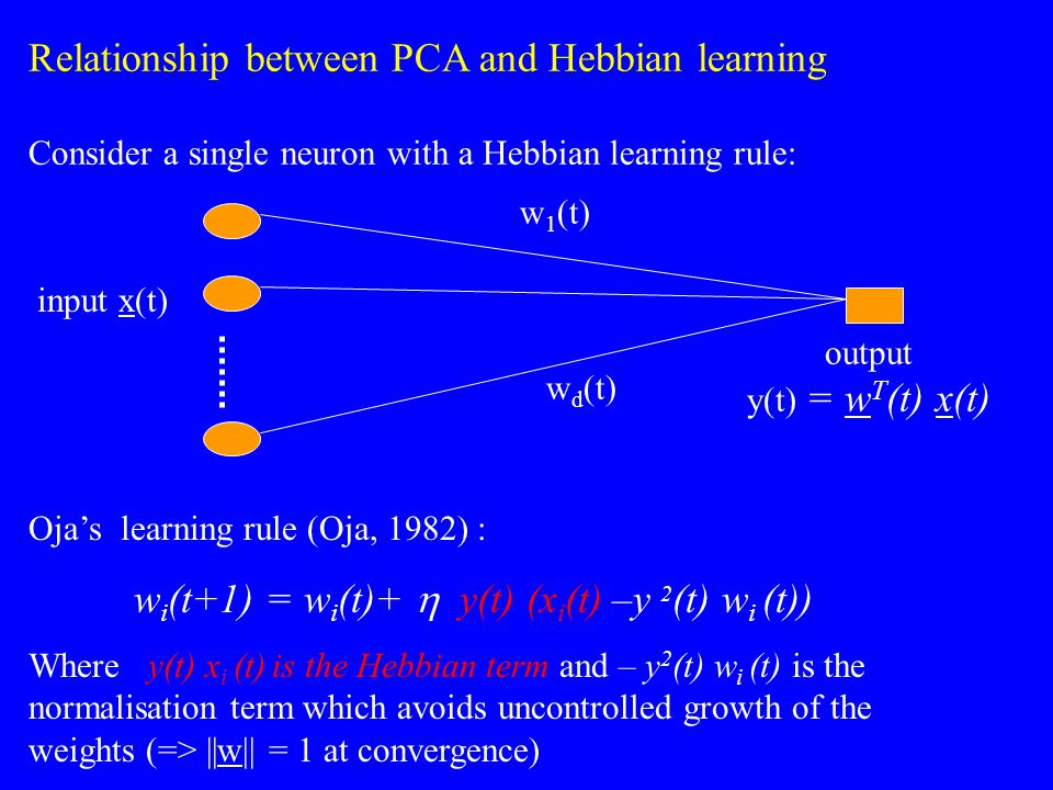 Relationship between PCA and Hebbian learning