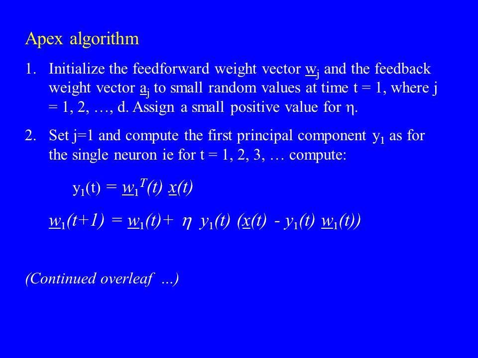 w1(t+1) = w1(t)+ h y1(t) (x(t) - y1(t) w1(t))