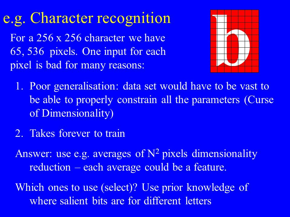 e.g. Character recognition