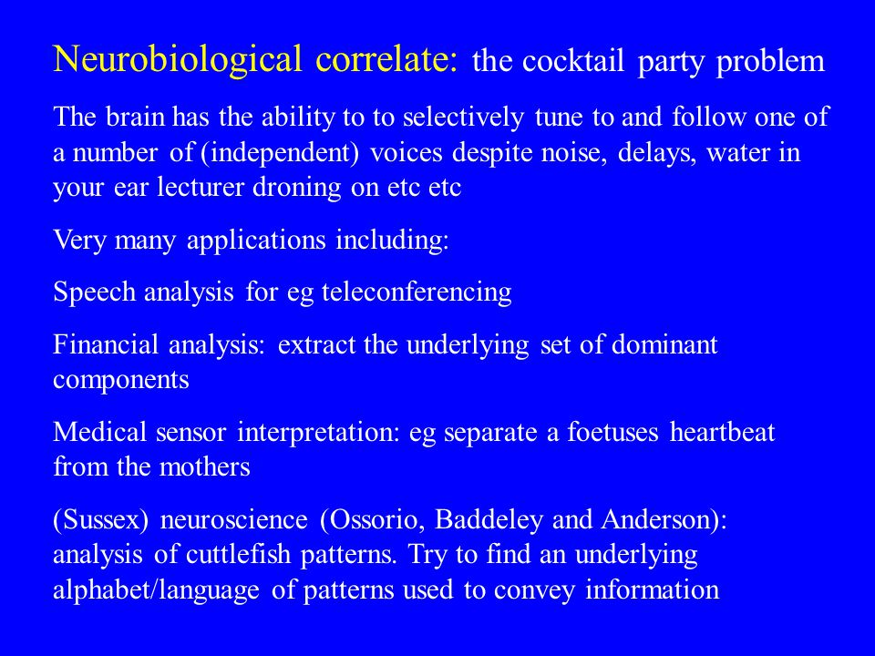 Neurobiological correlate: the cocktail party problem