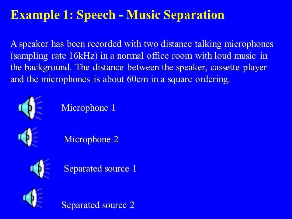 Example 1: Speech - Music Separation