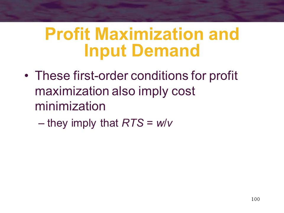Profit Maximization and Input Demand