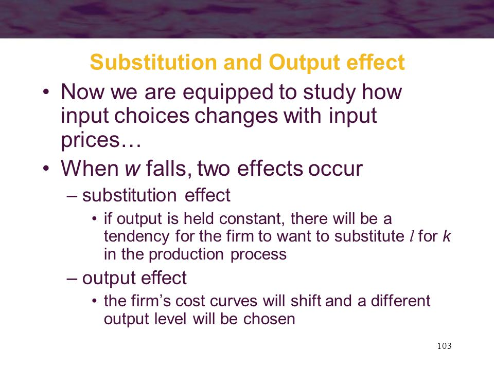 Substitution and Output effect