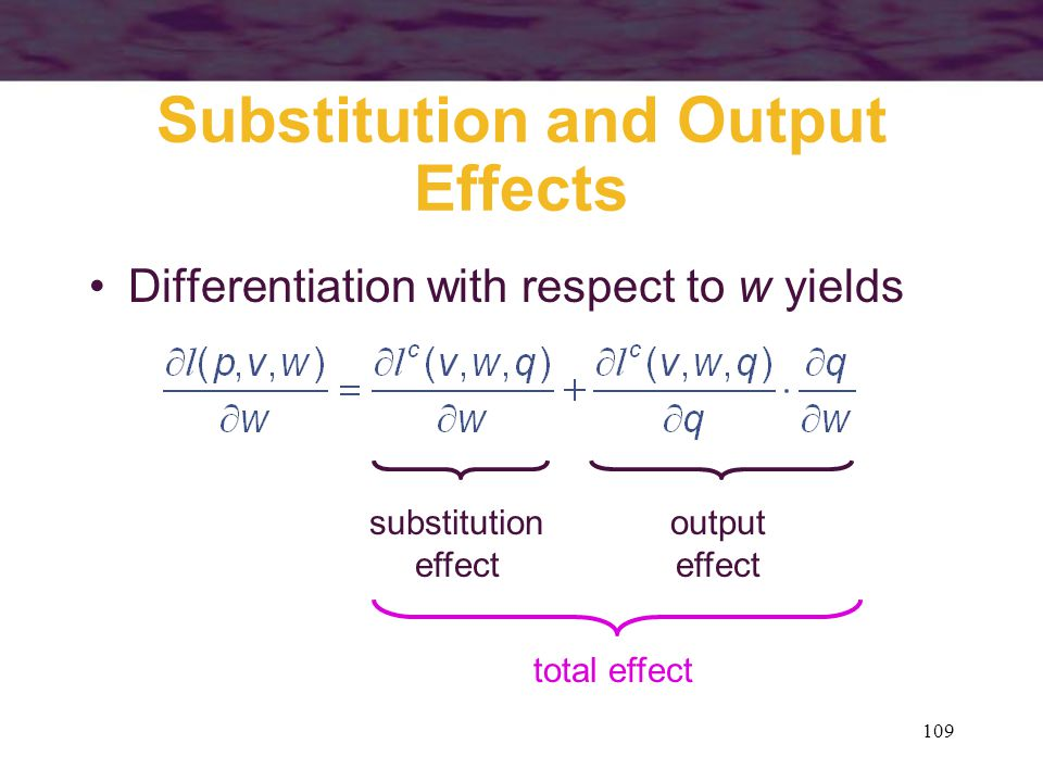 Substitution and Output Effects