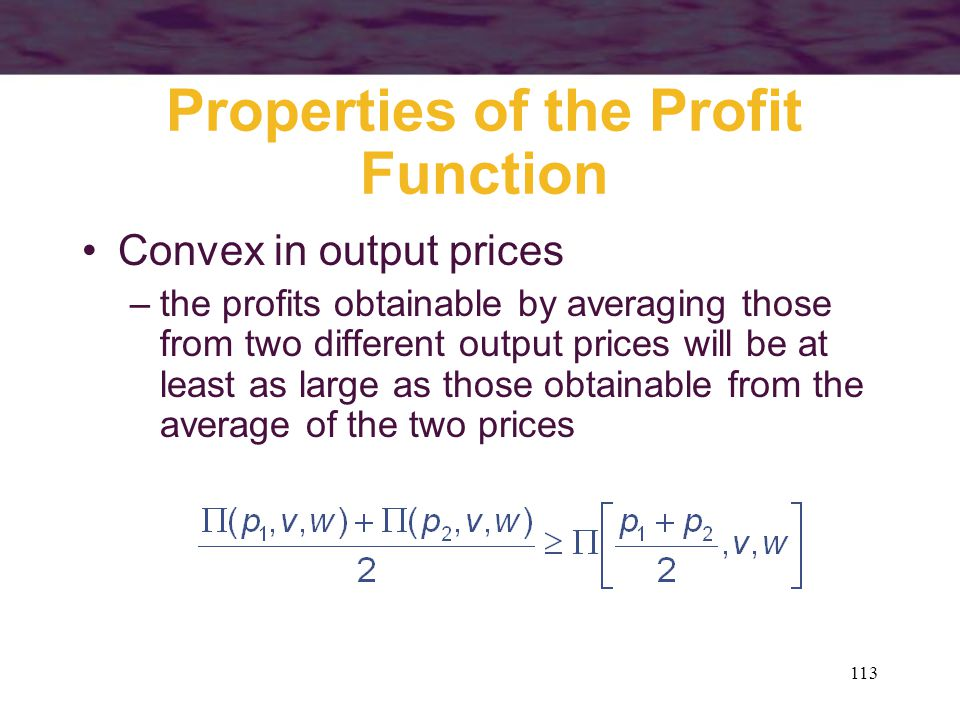 Properties of the Profit Function