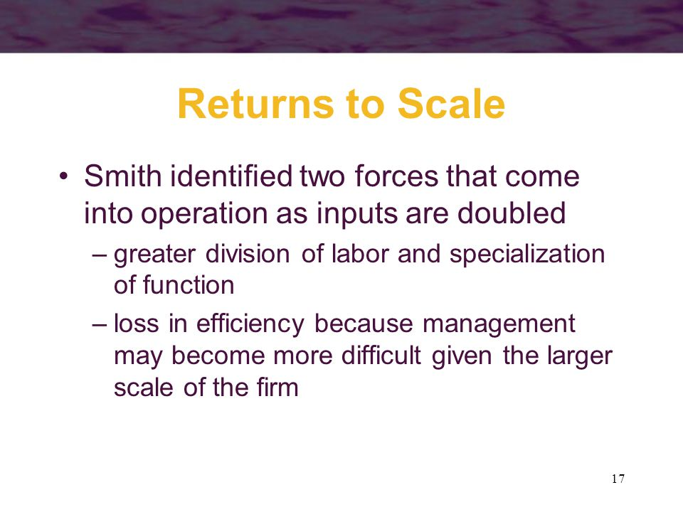 Returns to Scale Smith identified two forces that come into operation as inputs are doubled.