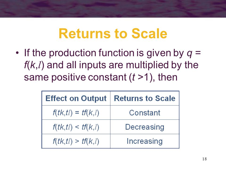 Returns to Scale If the production function is given by q = f(k,l) and all inputs are multiplied by the same positive constant (t >1), then.