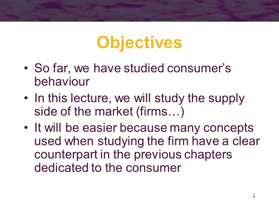 Objectives So far, we have studied consumer's behaviour
