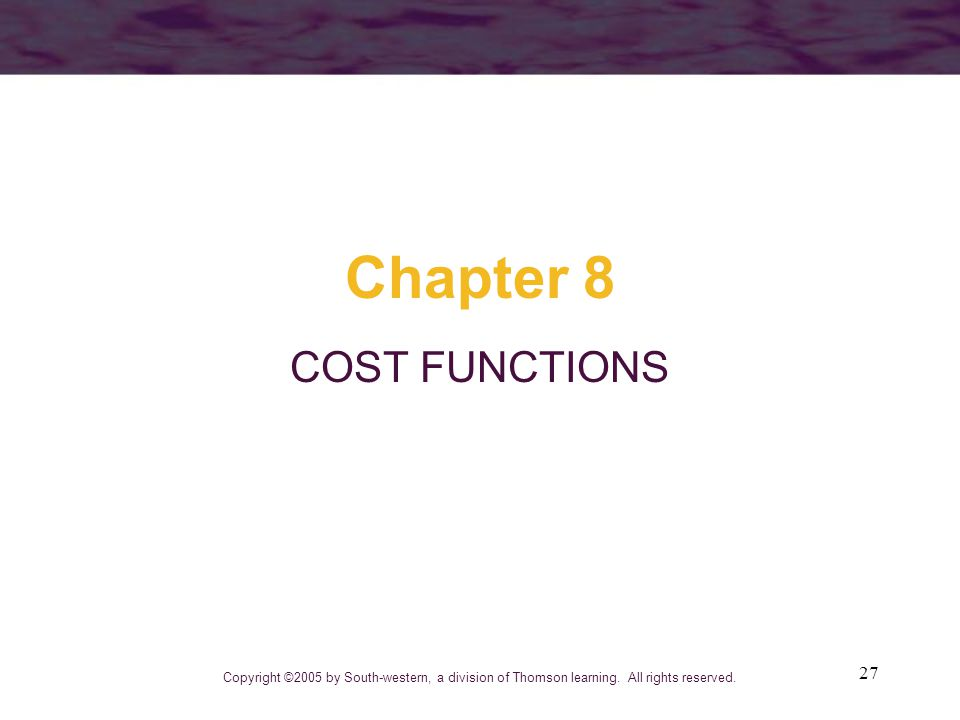 Chapter 8 COST FUNCTIONS