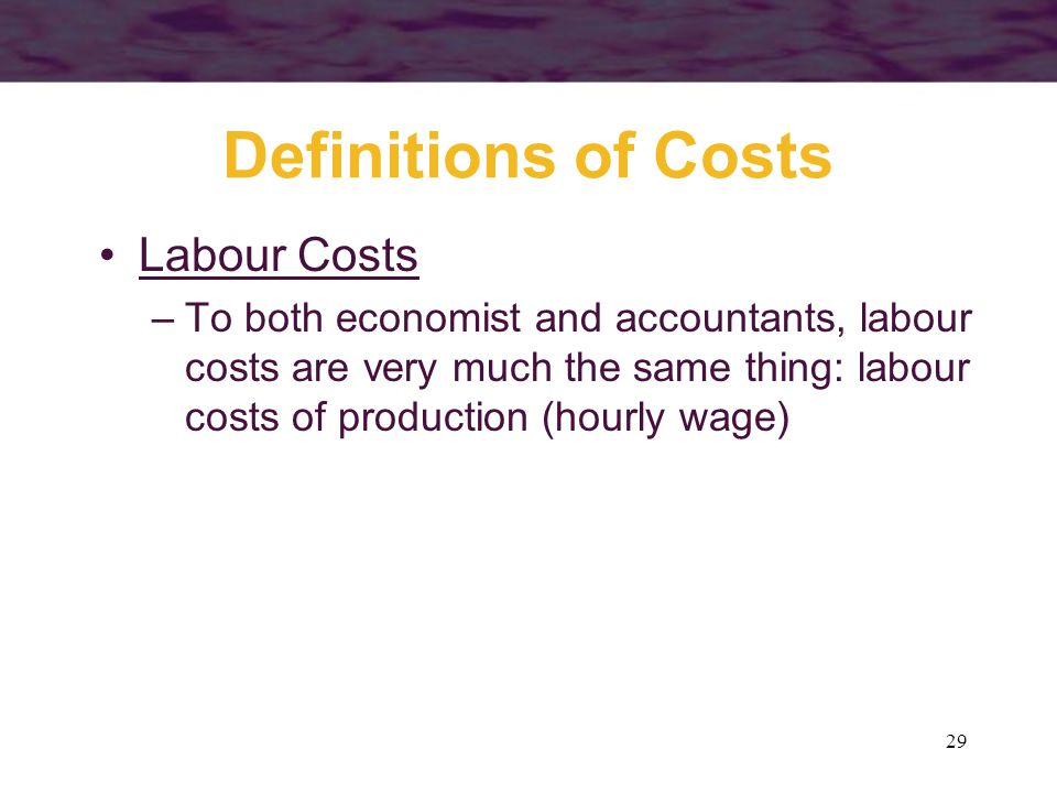 Definitions of Costs Labour Costs