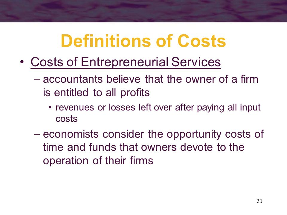 Definitions of Costs Costs of Entrepreneurial Services