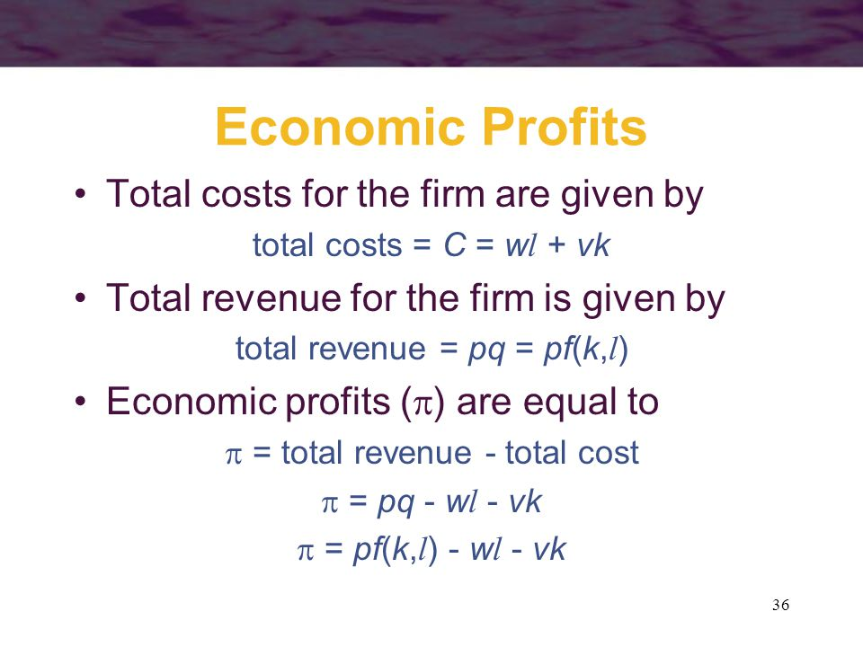 Economic Profits Total costs for the firm are given by