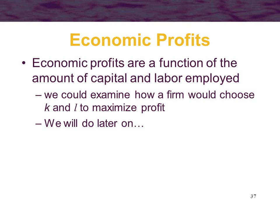Economic Profits Economic profits are a function of the amount of capital and labor employed.