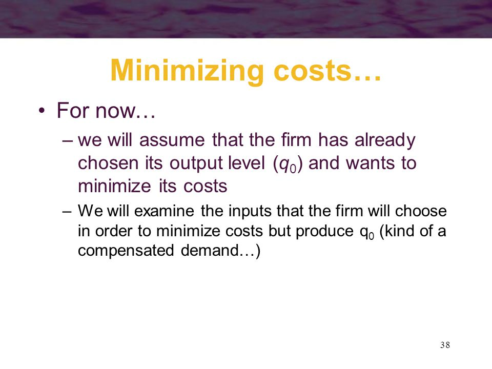 Minimizing costs… For now…