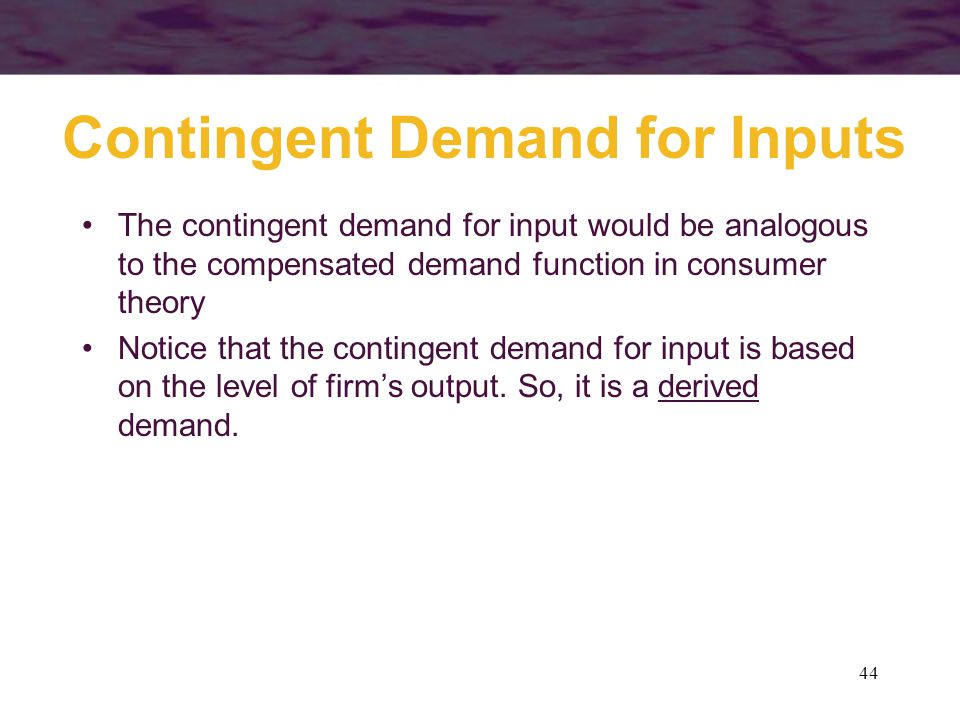 Contingent Demand for Inputs