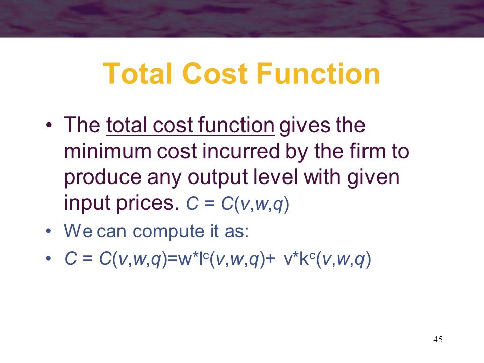 Total Cost Function