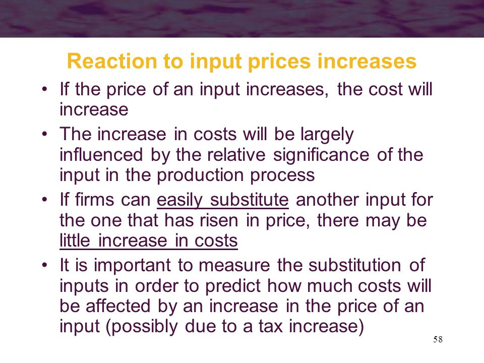 Reaction to input prices increases