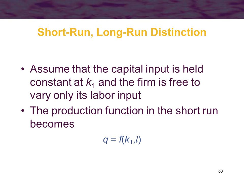 Short-Run, Long-Run Distinction