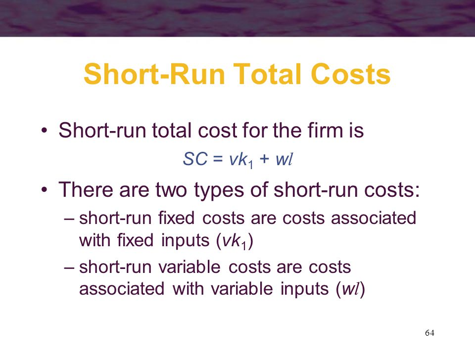 Short-Run Total Costs Short-run total cost for the firm is