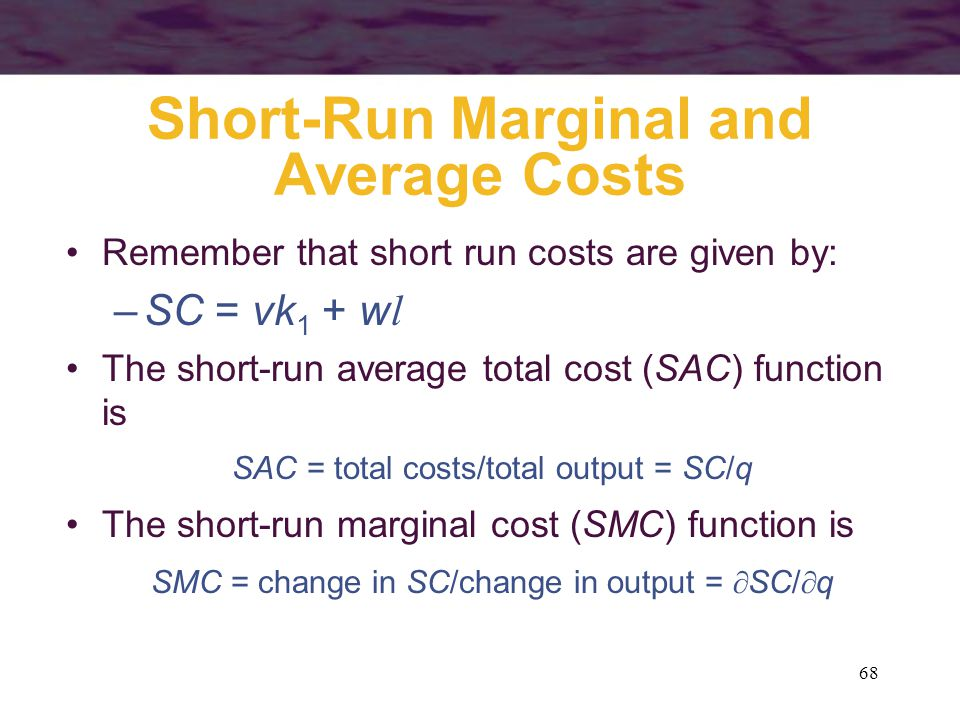 Short-Run Marginal and Average Costs
