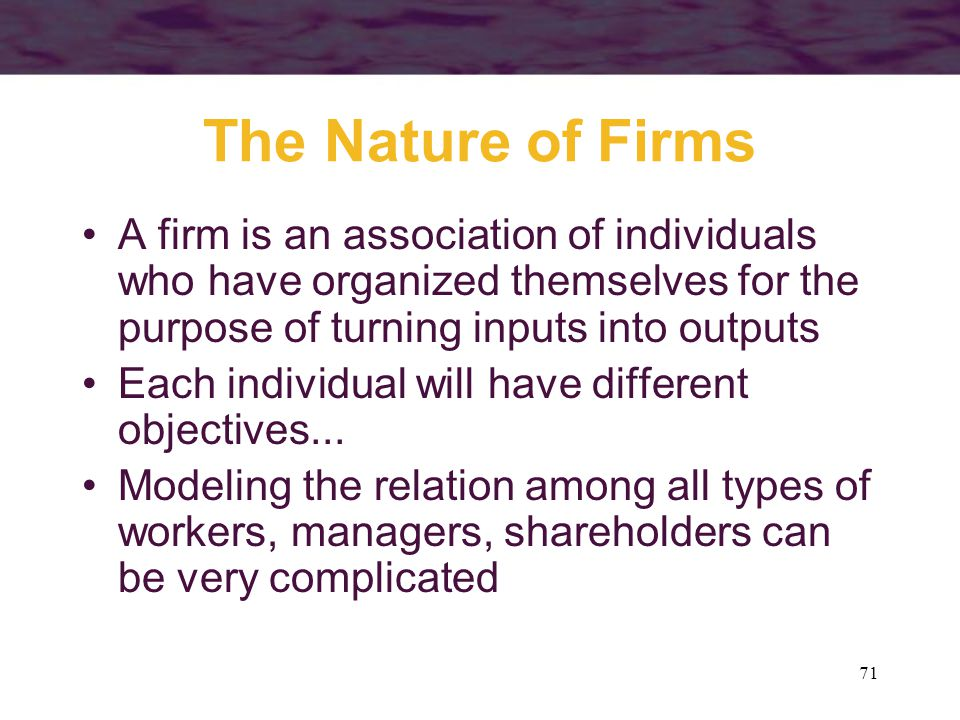 The Nature of Firms A firm is an association of individuals who have organized themselves for the purpose of turning inputs into outputs.
