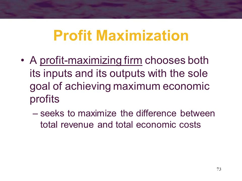 Profit Maximization A profit-maximizing firm chooses both its inputs and its outputs with the sole goal of achieving maximum economic profits.