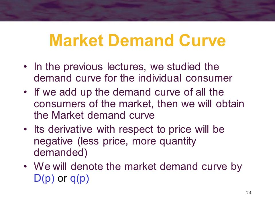 Market Demand Curve In the previous lectures, we studied the demand curve for the individual consumer.