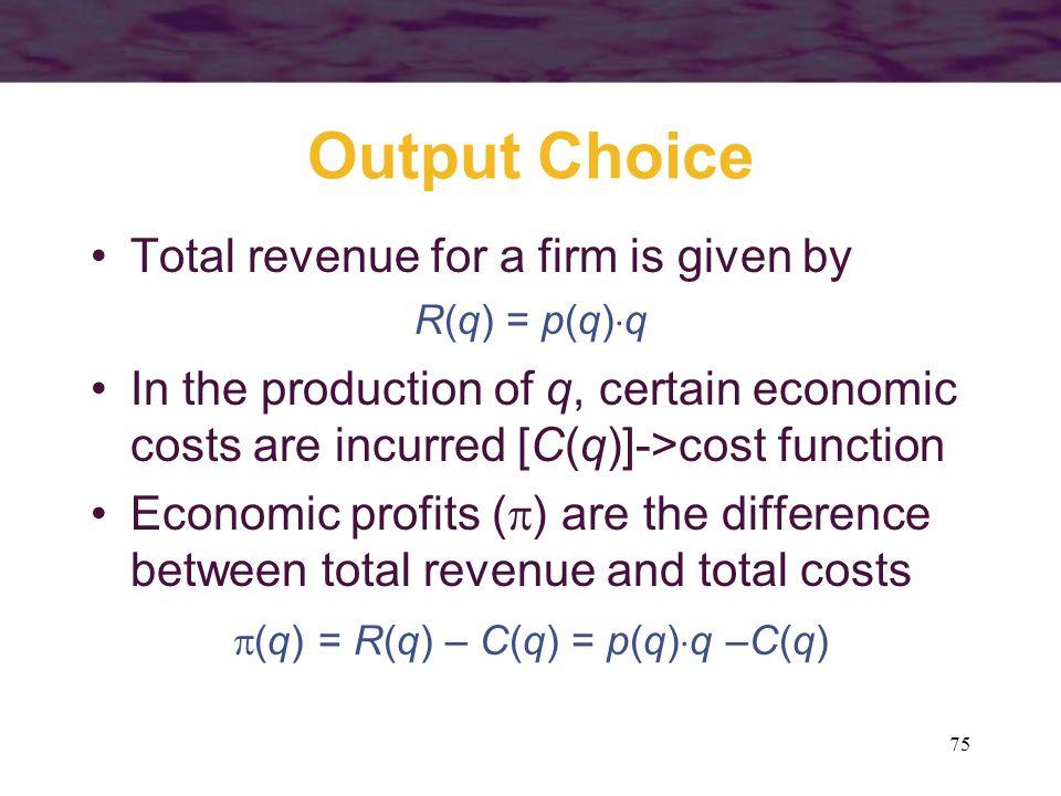 (q) = R(q) – C(q) = p(q)q –C(q)