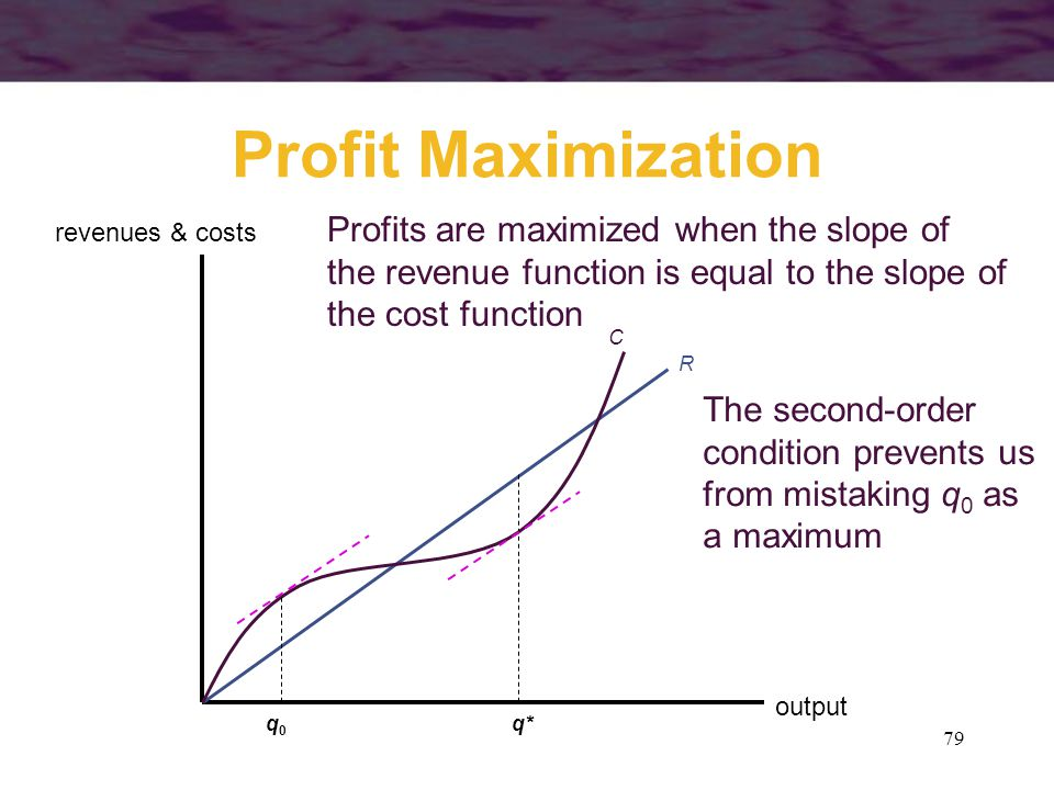 Profit Maximization Profits are maximized when the slope of