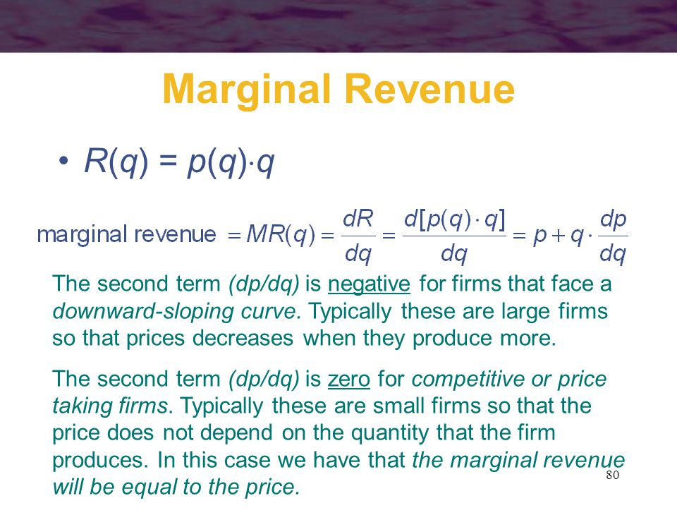 Marginal Revenue R(q) = p(q)q