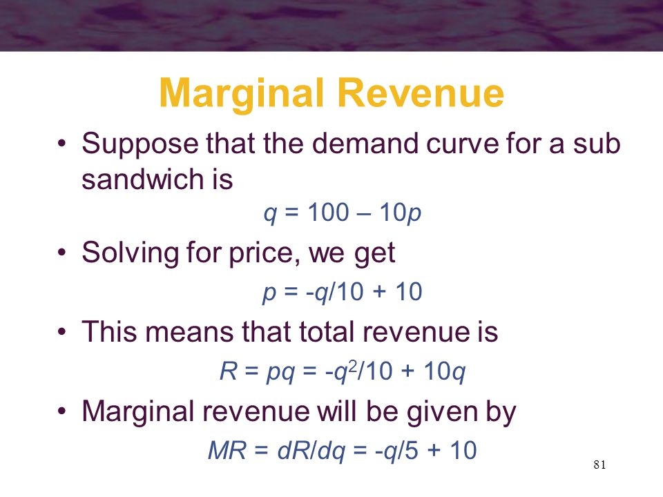 Marginal Revenue Suppose that the demand curve for a sub sandwich is