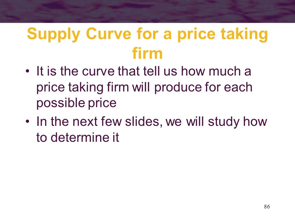 Supply Curve for a price taking firm