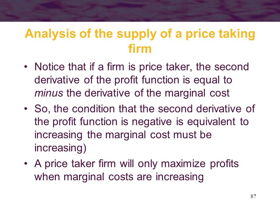 Analysis of the supply of a price taking firm
