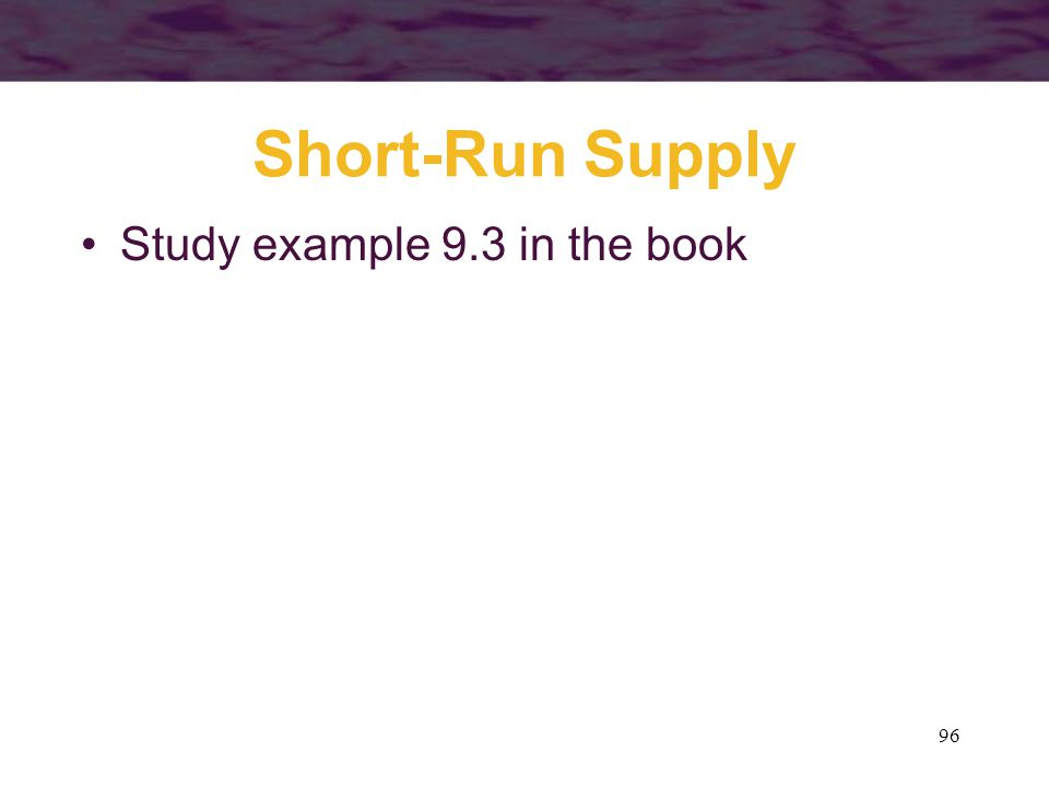 Short-Run Supply Study example 9.3 in the book