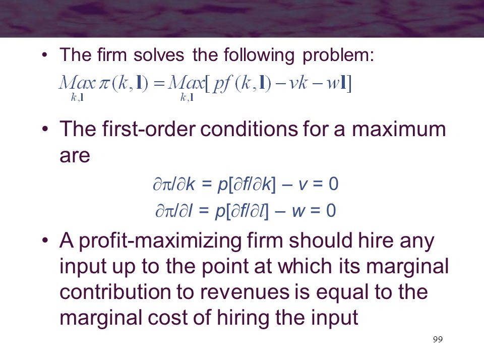 The first-order conditions for a maximum are