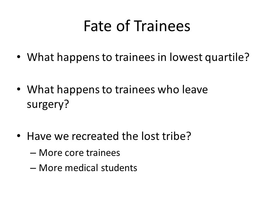Fate of Trainees What happens to trainees in lowest quartile