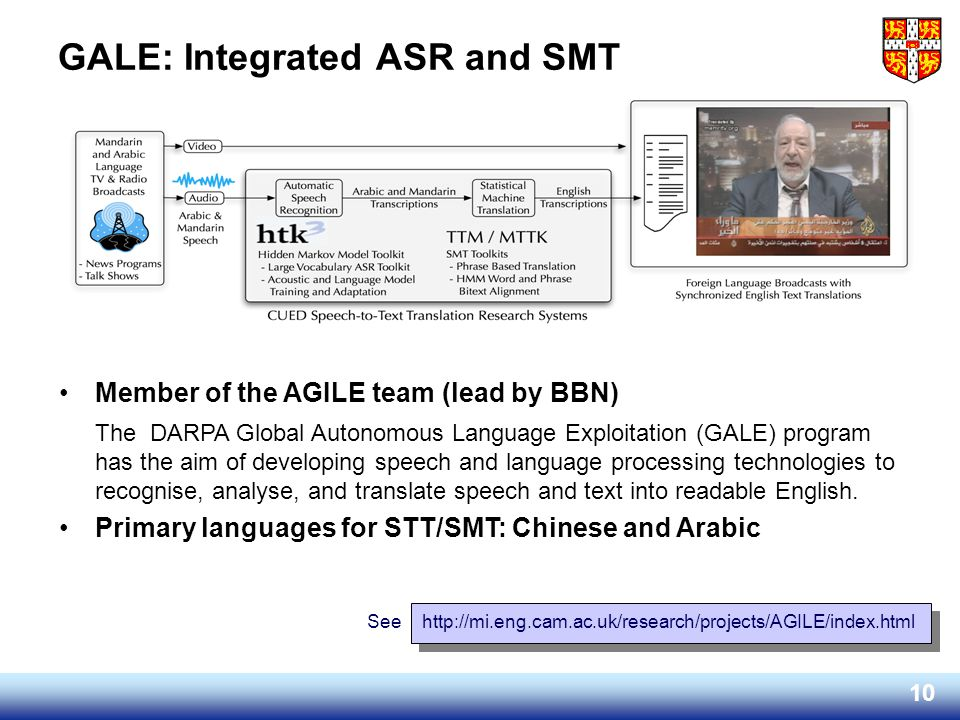 GALE: Integrated ASR and SMT