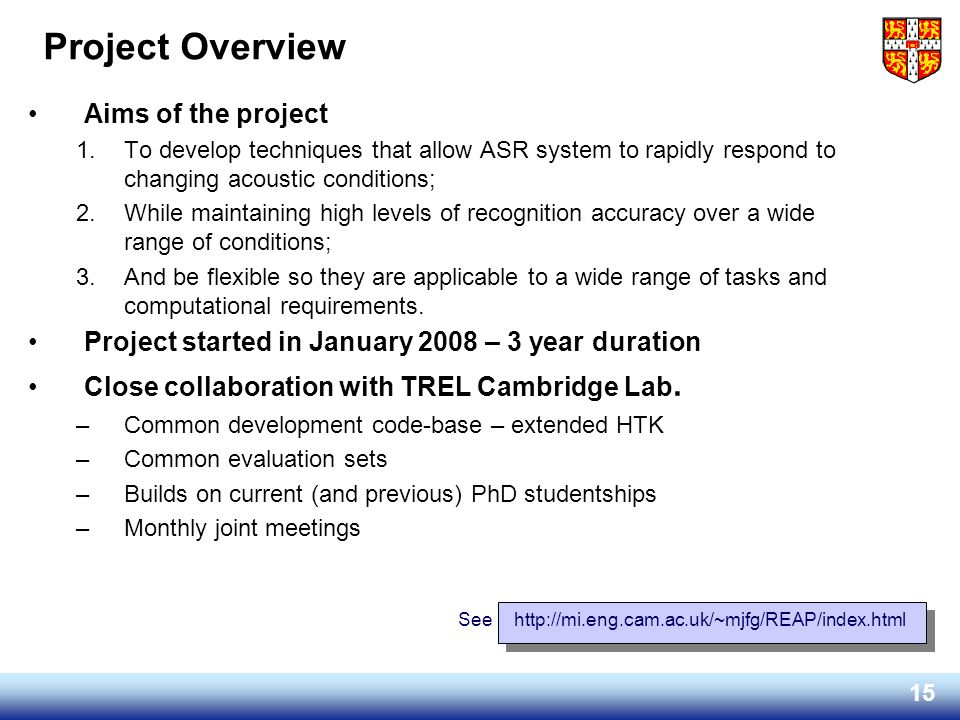 Project Overview Aims of the project