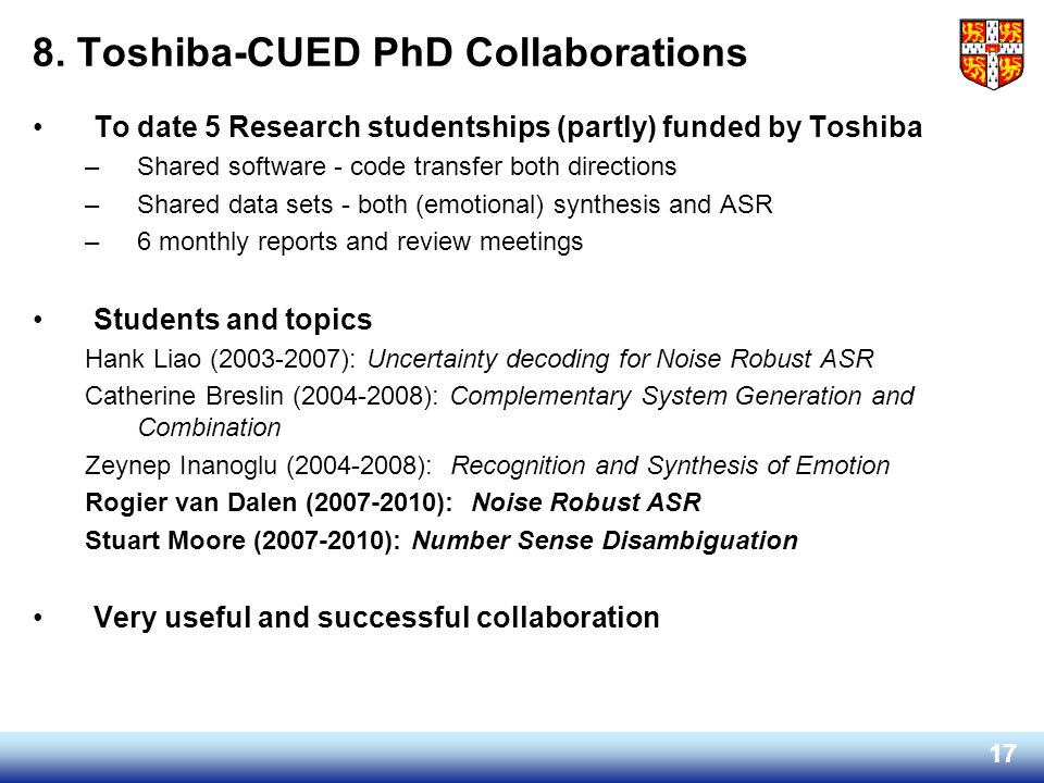 8. Toshiba-CUED PhD Collaborations
