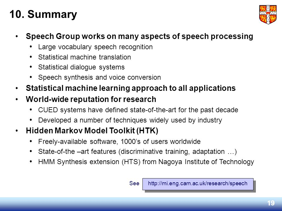 10. Summary Speech Group works on many aspects of speech processing
