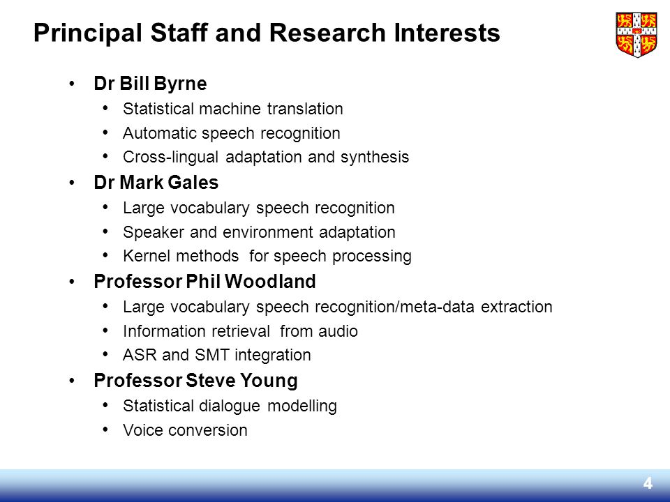 Principal Staff and Research Interests