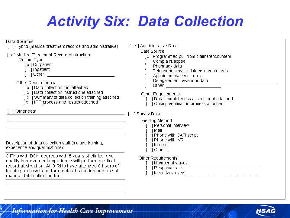 Activity Six: Data Collection