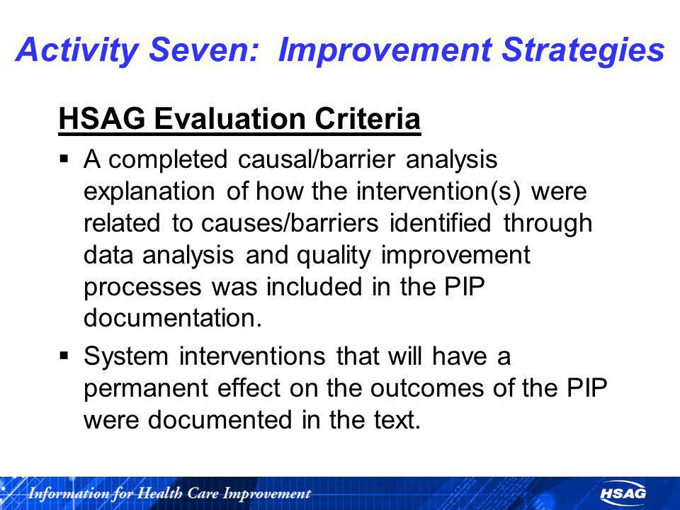 Activity Seven: Improvement Strategies